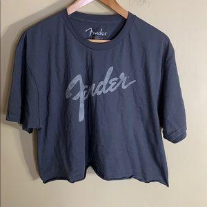 Fender gray raw edge crop T-shirt